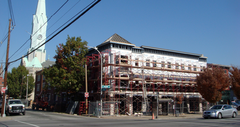 Scaffolding on the Broadway Facade