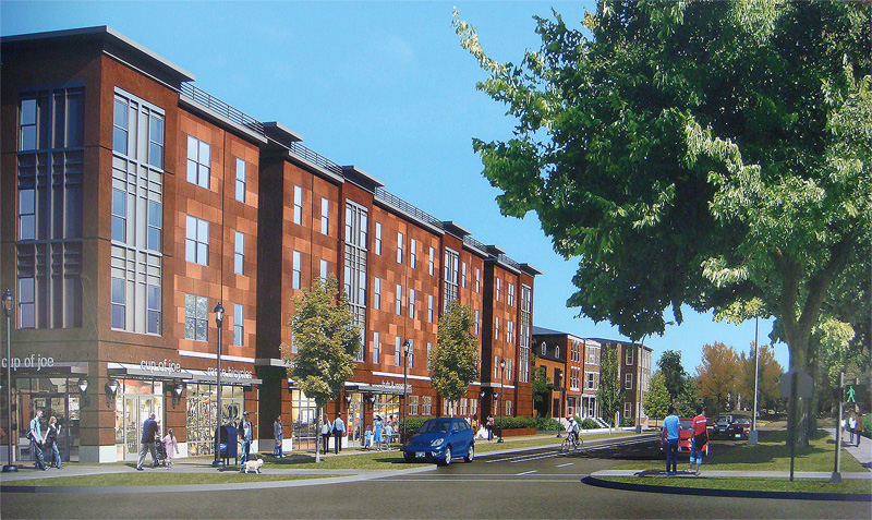 Rendering is mixed-use proposal (Courtesy Investment Property Advisors)