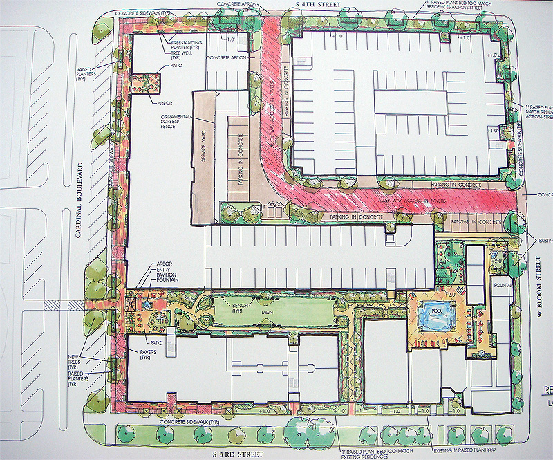Mixed-use proposal site-plan (Courtesy Investment Property Advisors)