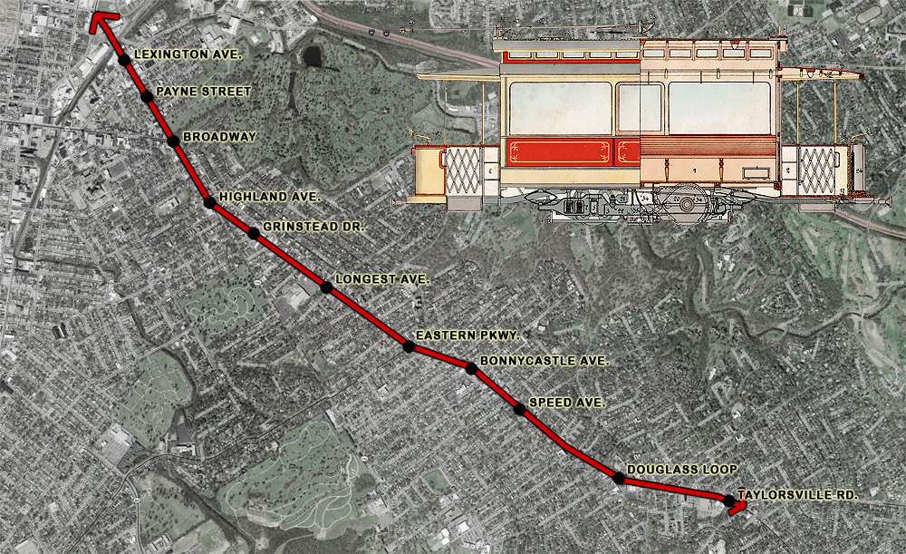 A trolley line is proposed for Bardstown Road (artists representation)