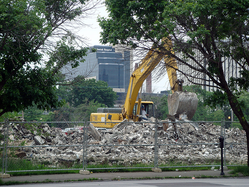 Demolition at the Haymarket site.