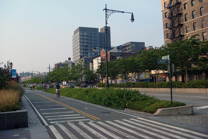 Bike Path West Street At Hudson River Park Broken Sidewalk