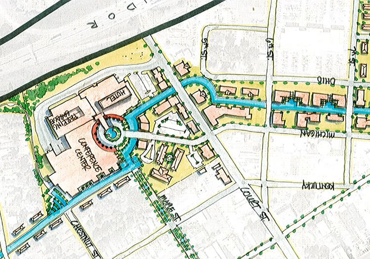 Proposed route of Jeffersonville canal (courtesy City of Jeffersonville)