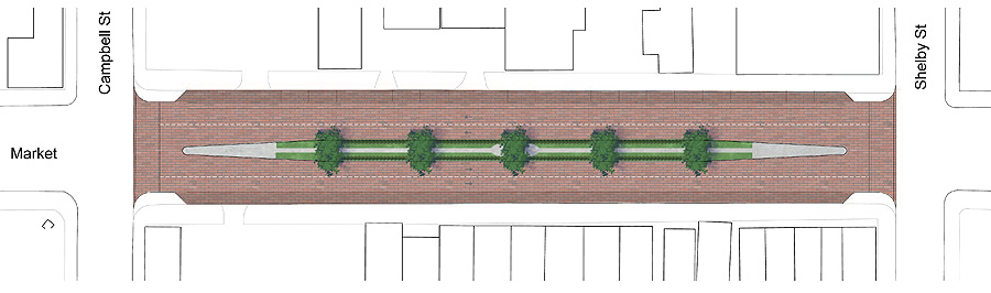 Proposed changes to East Market Street (courtesy Bingham Fellows)