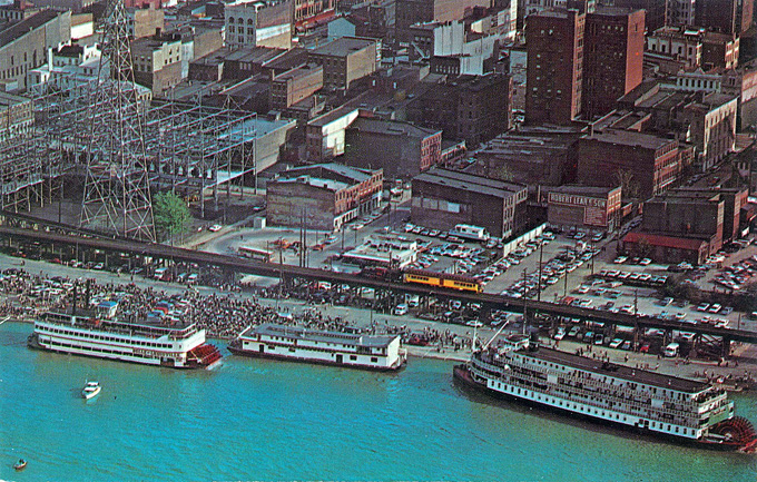 Passenger Rail on Waterfront before I-64 (BS File Postcard)
