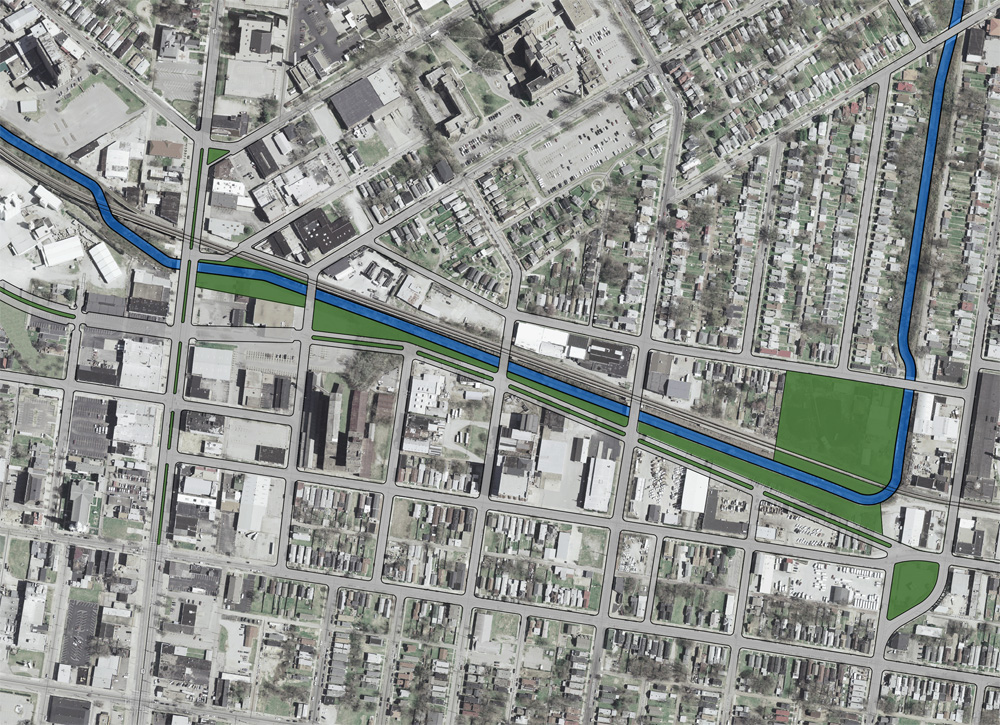 Proposed Boulevard from Main to Kentucky Streets