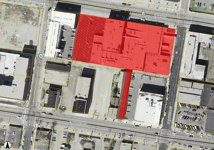 Demolition site at D&W Silks and Riney Bedding (map via Lojic)