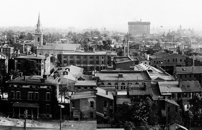 Historic view south from atop the Glassworks (via HABS / LOC)