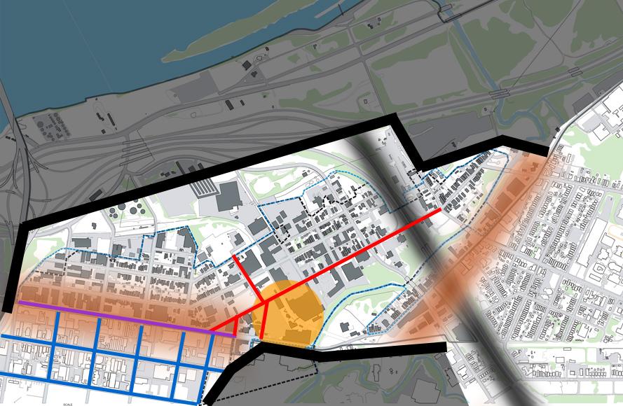 Butchertown diagram (map underlay via Butchertown Neighborhood Plan)