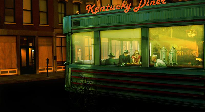 Kentucky diner time to polish the chrome broken sidewalk for Diner artwork