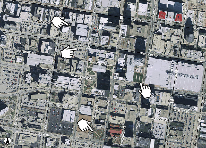 Potential sites for the Downtown Transit Center (Map via Lojic)