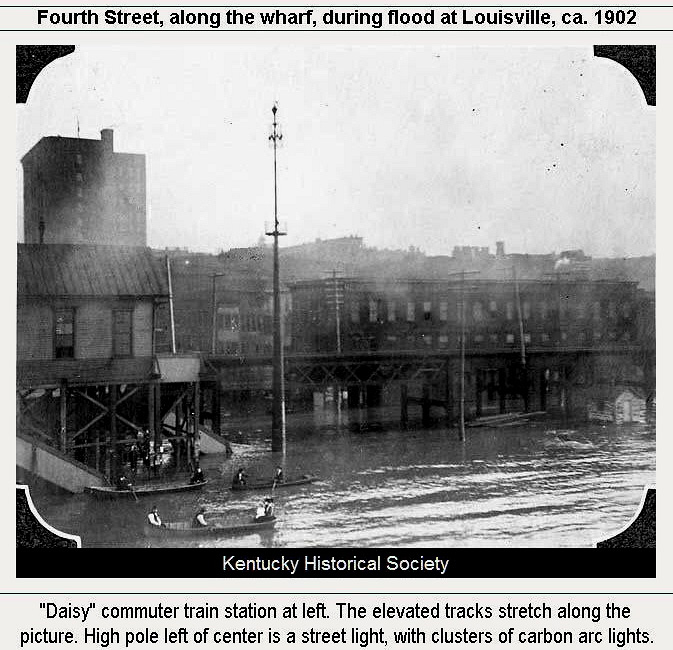 Fourth Street at wharf during flood circa 1902, Kentucky Historical Society