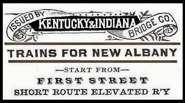Above, from an 1887 K&I commuter train pocket timetable; Courtesy Floyd County Public Library historical archives