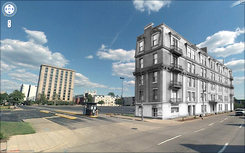 Demolished building in its modern setting (U of L & Google)