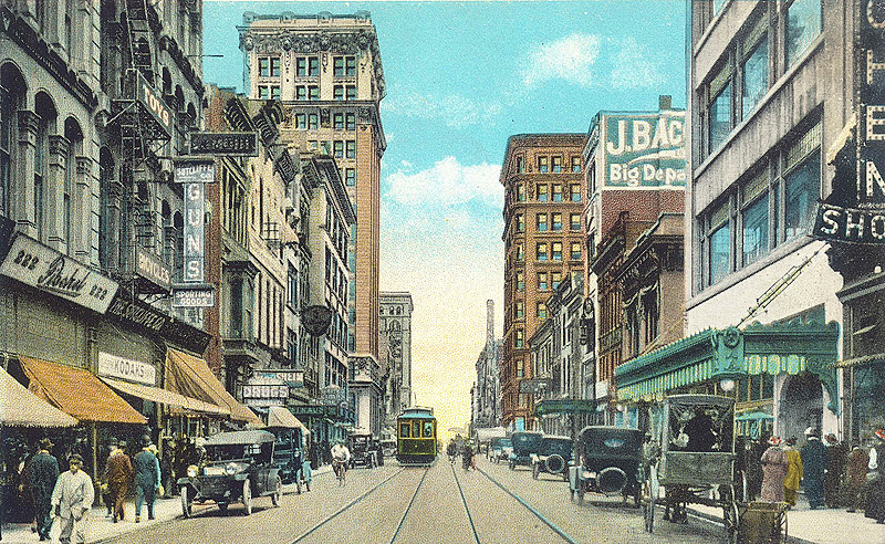 Everything in this postcard view has been demolished (BS File Postcard)