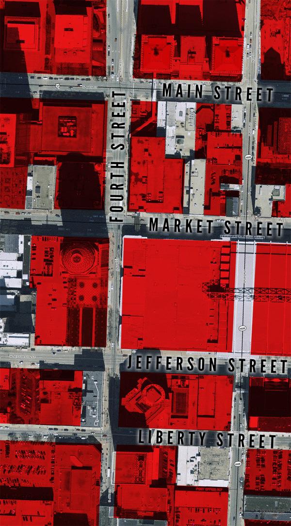 Parcels destroyed or rebuilt since World War II (Map via Lojic)