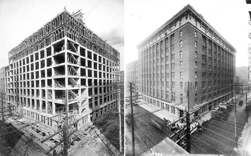 Belknap Warehouses under construction in 1908 (from U of L Photographic Archives)