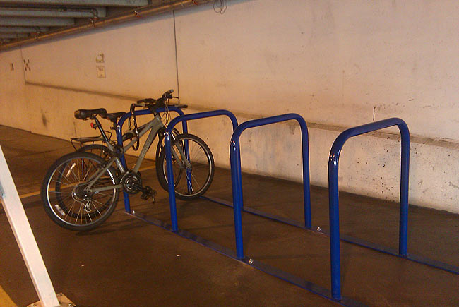 Bike parking inside a garage (Photo courtesy Metro Lou)