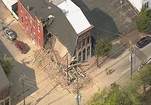 Aerial view of the Butchertown collapse (via WHAS11 News)