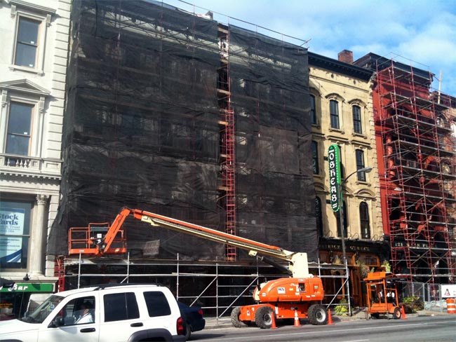Scaffolding at the Whiskey Row Lofts (Courtesy tipster)