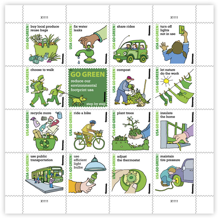 Go Green 2011 stamps (Courtesy USPS)