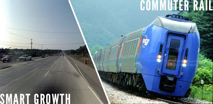 Events covering Smart Growth and Commuter Rail Monday evening (Google and Wikipedia)