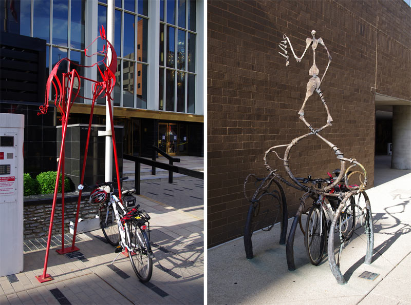 A decently functional rack at 4th and Main streets (left) and a more interesting but less functional rack by the Kentucky Center (right). (Erik Weber)