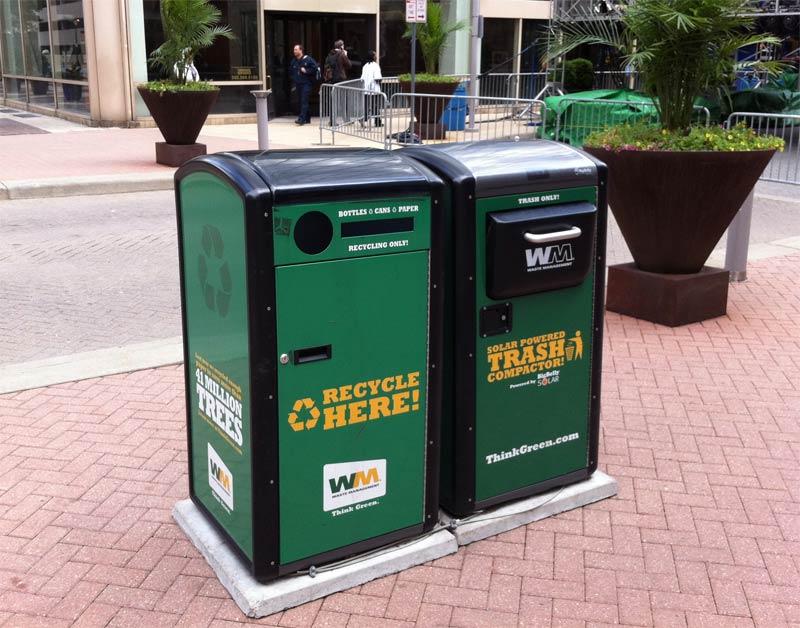 Solar-powered compacting recycle bins on Fourth Street. (Broken Sidewalk)