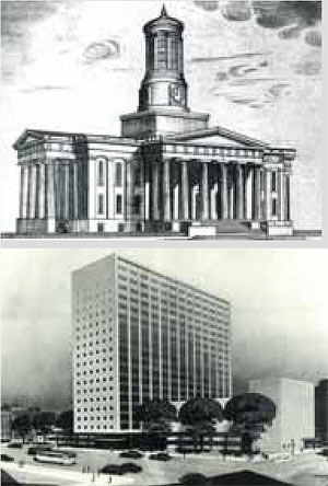 Proposed additions to the Courthouse and Stratton Hammon's proposed replacement.