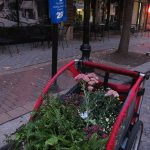 Many of the materials for Park(ing) Day were transported by bike. (Mary Beth Brown)