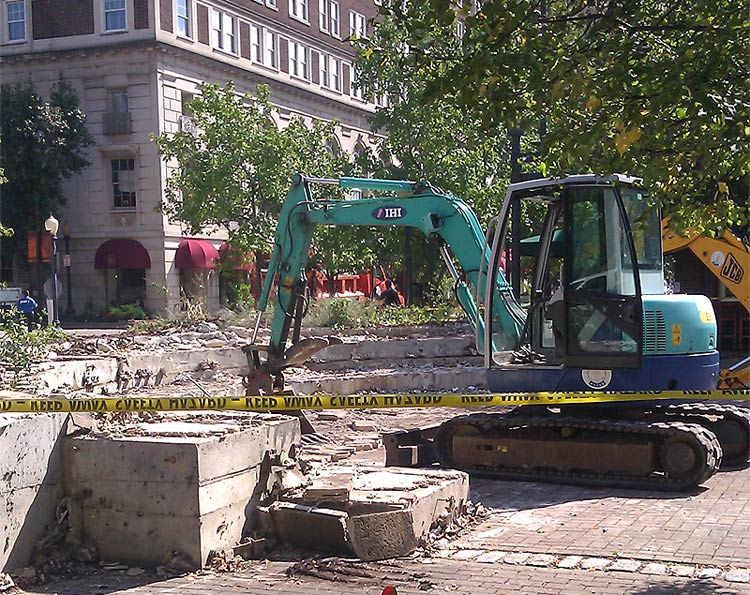 Demolition work has started at Theater Square. (Courtesy Tipster)