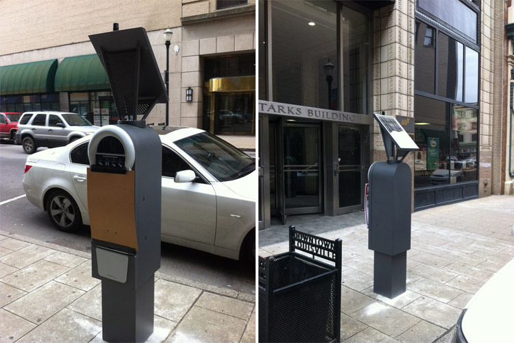 New electronic parking meters on Muhammad Ali Boulevard. (Courtesy Tipster)