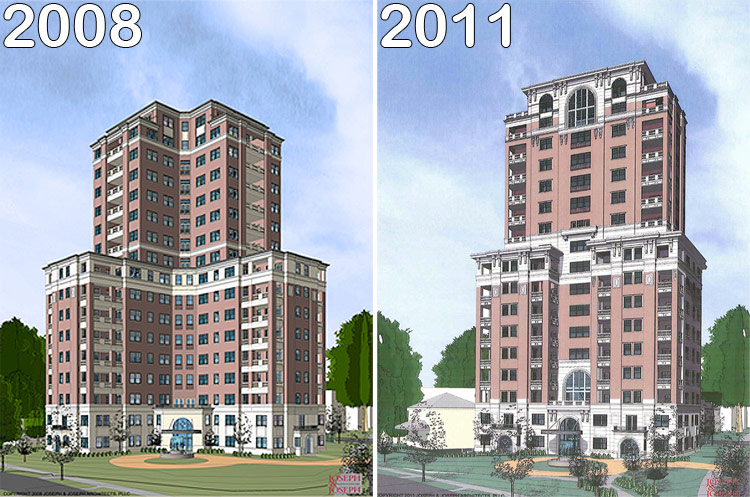 The proposed Willow Grande from 2008 and 2011. (Courtesy Joseph & Joseph/Jefferson Development Group)