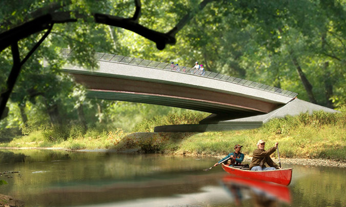 Rendering of a bridge at the Parklands. (Courtesy WRT)