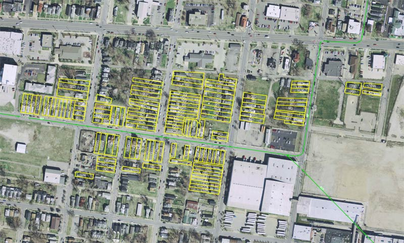 The 128 houses slated for demolition. (Courtesy MSD)
