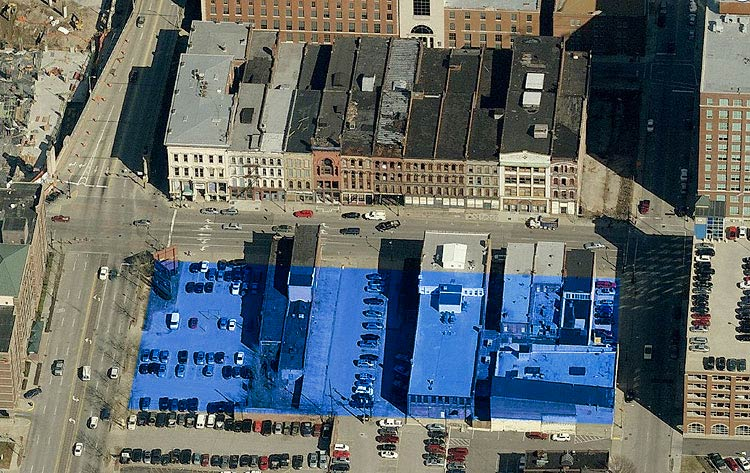 Study site for an urban bourbon distillery. (Courtesy Bing)