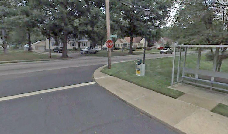 Bus stop near the deadly collision. (Courtesy Google)