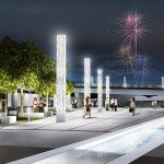 Big Four Station's light columns glowing at night. (Courtesy The Estopinal Group)