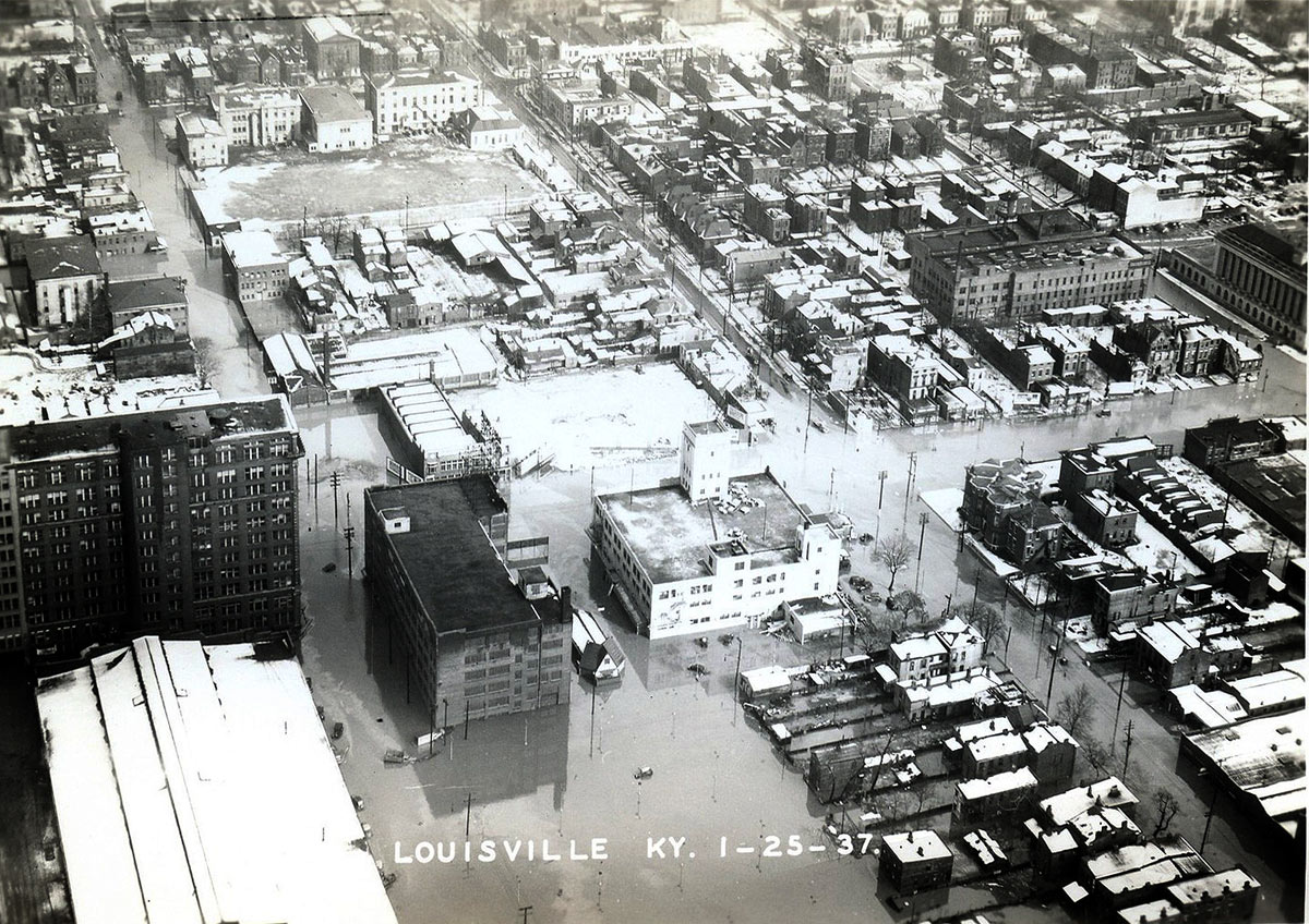 View of Downtown Louisville during the Great Flood of 1937.