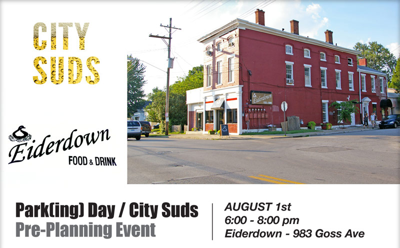Learn about PARK(ing) Day at City Suds Urbanism Happy Hour!
