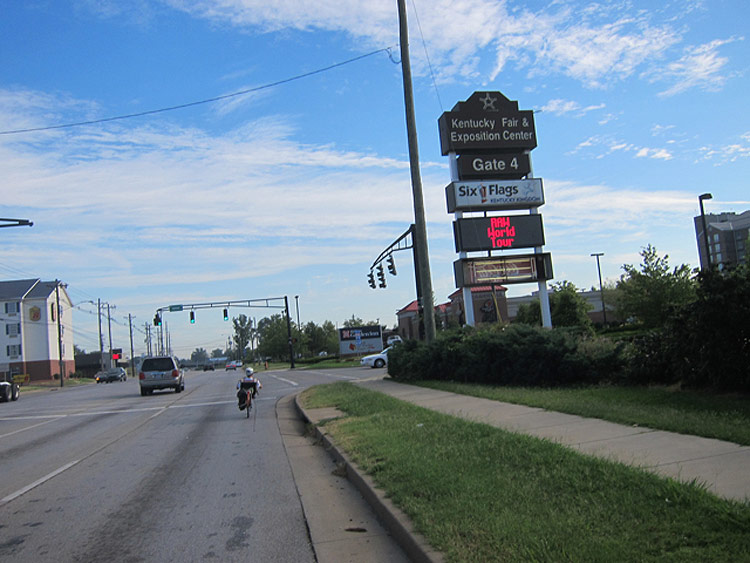 Riding down Crittenden Drive at Gate 4. (Courtesy Bicycling for Louisville)