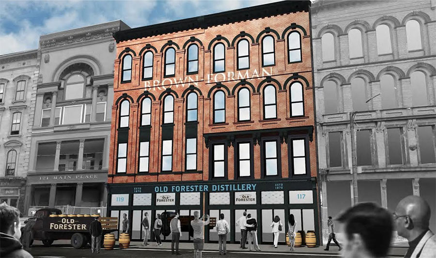(Conceptual rendering of the new Old Forester distillery on Main Street. (Courtesy Brown-Forman)