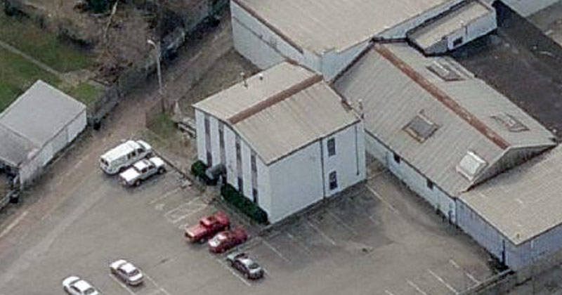 Is this building the lone survivor of the Mellwood Distillery complex? (Courtesy Bing)