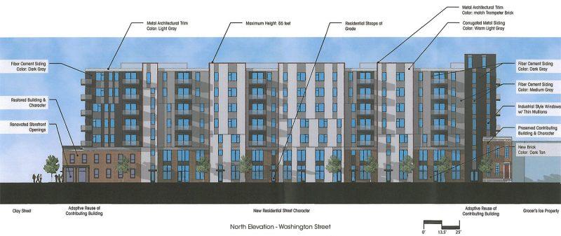 The Washington Street facade of the Clay & Main development. (Courtesy Bristol Development Group)