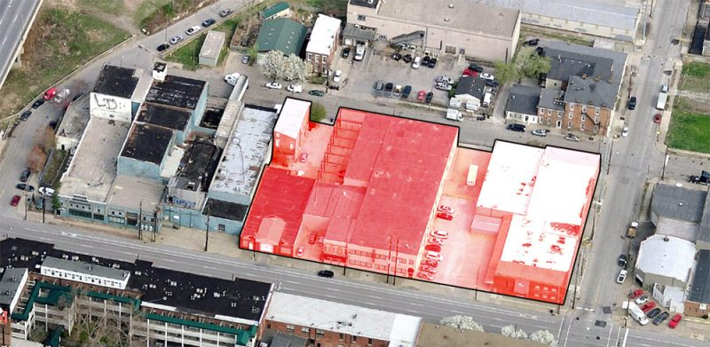 Site of the Main & Clay development indicated in red. (Courtesy Bing; Montage by Broken Sidewalk)