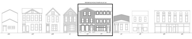 The Baxter Flats indicated on an elevation of Baxter Avenue. (Courtesy Alltrade / IHNA)