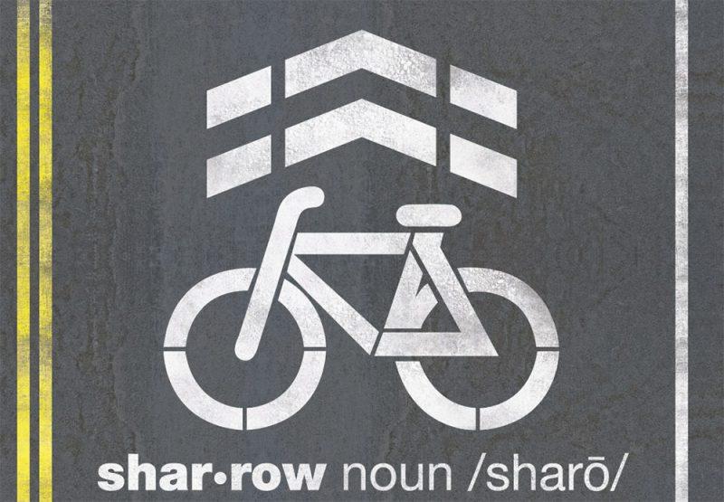 A sharrow. (Courtesy Jacksonville Bicycle Coalition)