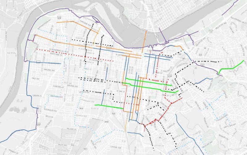 Louisville's bike map showing bike lanes, bike paths, and the under-development Neighborways program. (Courtesy Bike Louisville)