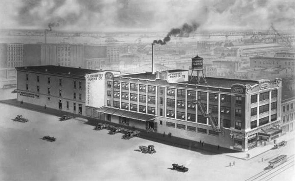 Rendering of the original Kurfees Paint building circa 1915 before it was expanded. (UL Photographic Archives – Reference)
