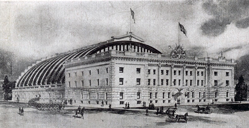 An early rendering of the armory printed on a postcard.